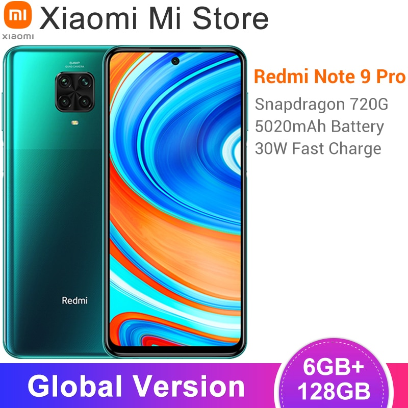 Global Version Xiaomi Redmi Note 9 Pro Smartphone 6GB RAM 128GB ROM  Snapdragon 720G 64MP Rear Quad Camera 6.67