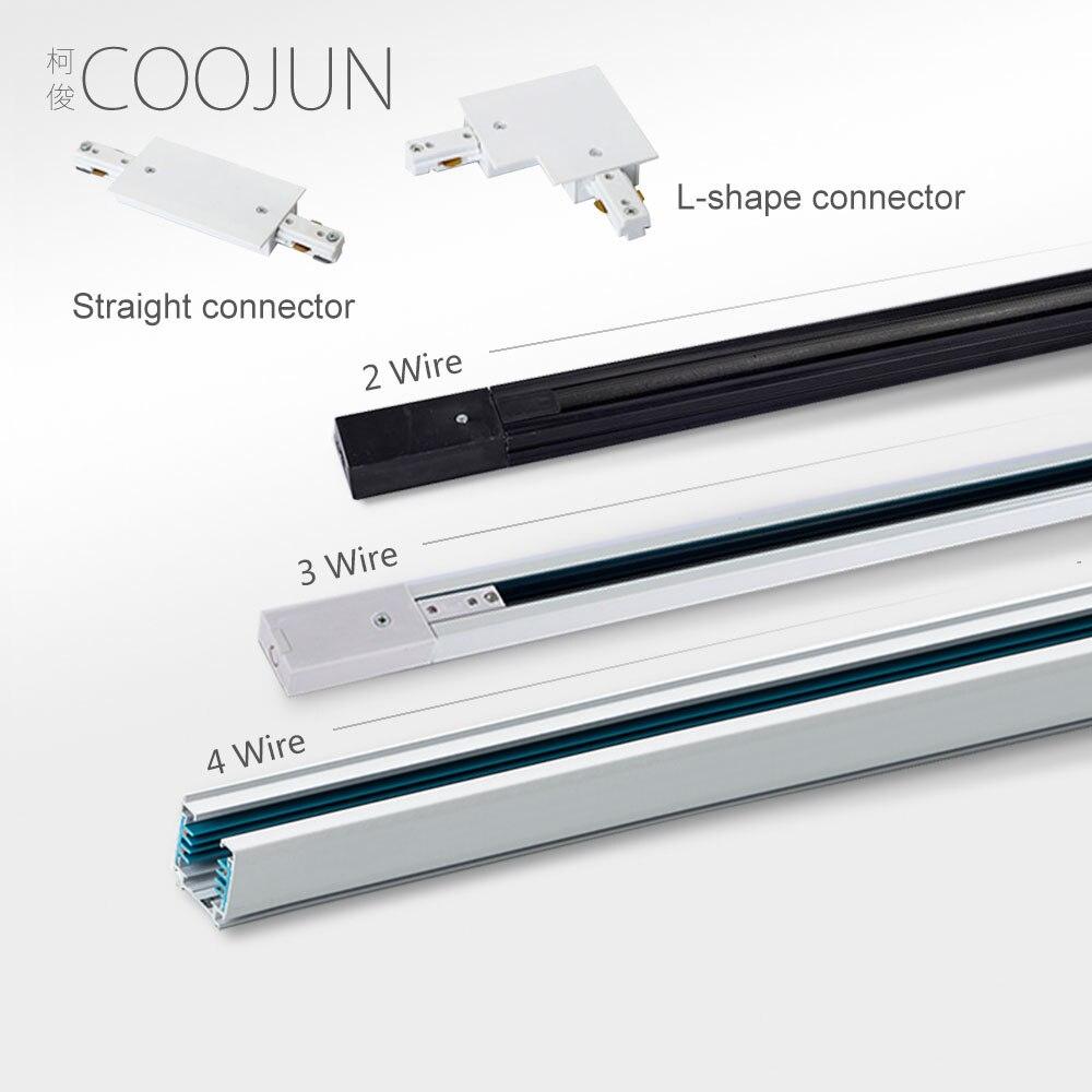 Tira de riel de cobre COOJUN LED 2 3 4, tira de riel de 1 m 1,5 m, accesorios de iluminación de riel negro y blanco