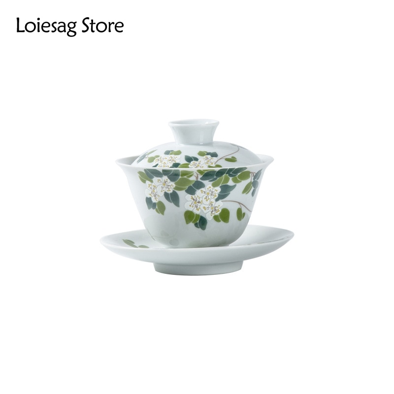 Loiesag 175 مللي على الطريقة اليابانية العشب الخشب الرماد السيراميك Sancai غطاء وعاء الشاي السلطانية الكونغ فو طقم شاي المنزلية Gaiwan الشاي صنع مجموعة