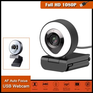 Web Camera Auto Focus Beautify Fill-in Lighting Video Webcam HD 1080P Live Broadcast Mic USB 3 Grades Adjustable Touch Brightnes
