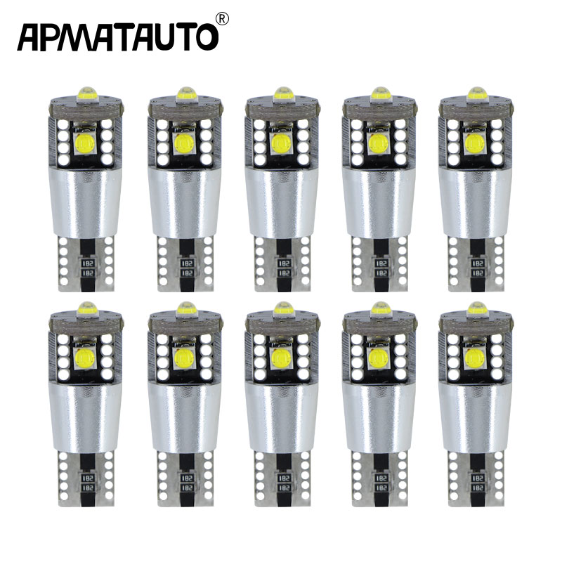 10 Uds T10 Led Canbus W5W bombillas Led 194 501 6000K lámpara de señal blanca Domo lectura matrícula luces interiores para automóvil Auto 12V