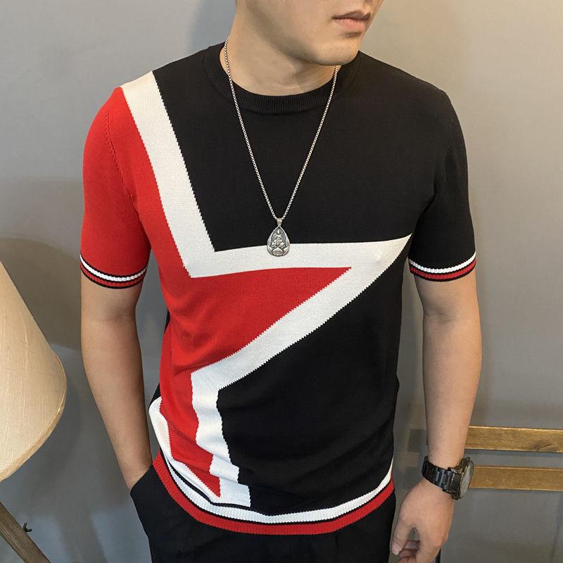 Spring and Autumn Men's Short Sleeve Slim New Sweater Korean Jacquard Slim Plus Size Half Sleeve Sweater Fashion