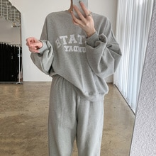 Korean Pants Suit Chic Lazy Style Round Neck Letter Loose Long Sleeve Sweater Elastic High Waist Leg