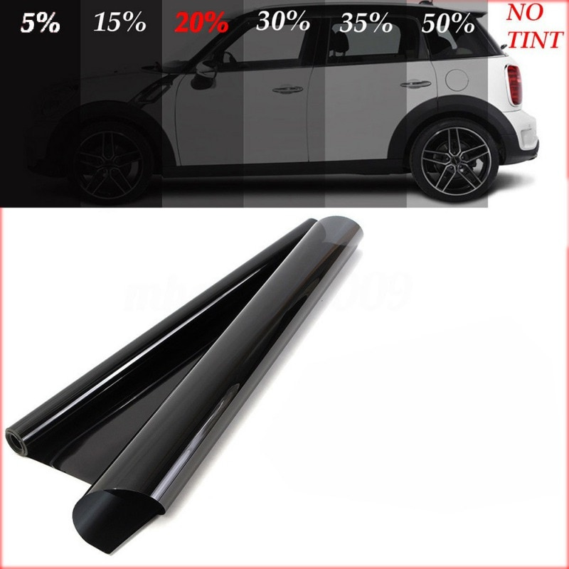 50*100 CM/200 CM/300 CM/600 CM 20% VLT Protector de película, adhesivo sol película de protección negro coche ventana protección Solar de película