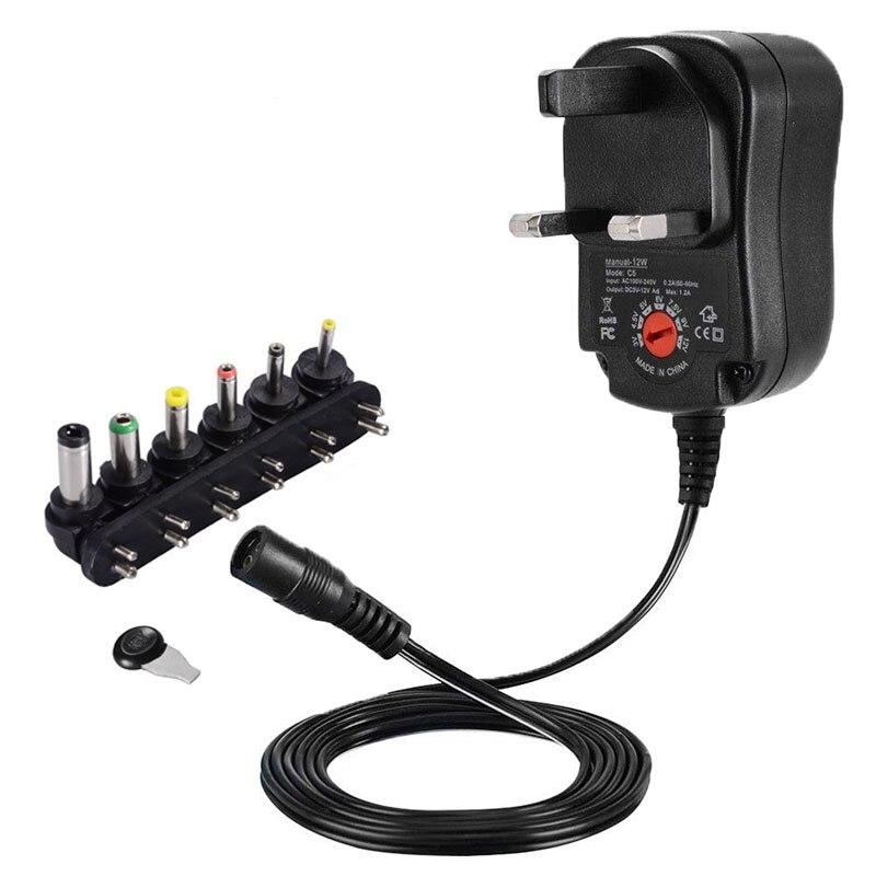 1 piezas 3V 4,5 V 5V 6V 7,5 V 9V 12V 1A adaptador de corriente ajustable enchufe UK cargador de CA/CC Universal 12V 1000mA fuente de alimentación de conmutación 12W
