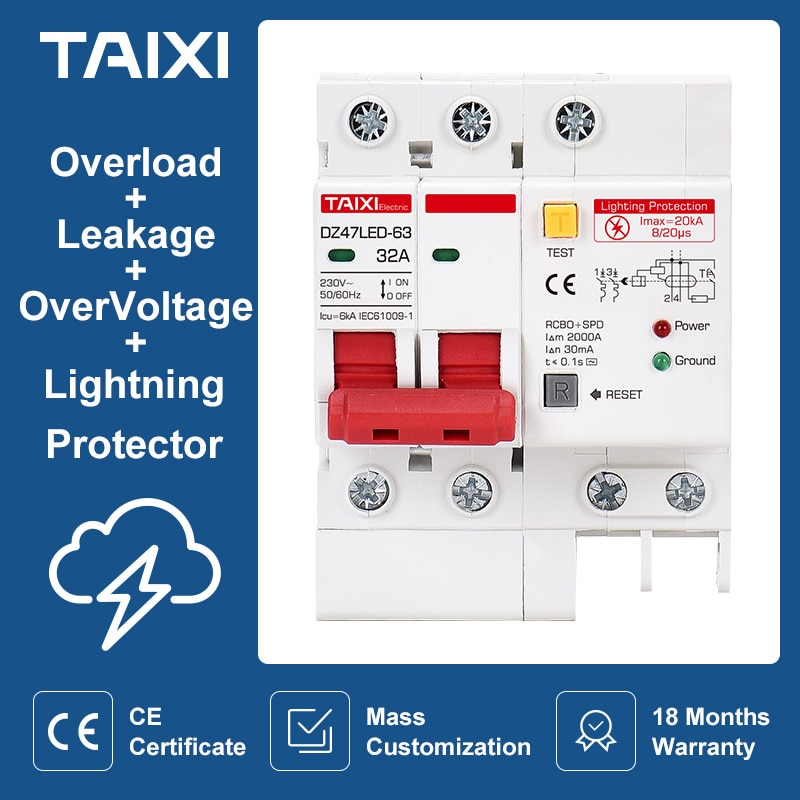 SPD Residual Current Circuit Breaker With Overload Overvoltage RCBO RCCB With Lightning Protection MCB Leakage Surge Protector