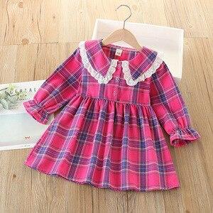 Girls Dress Autumn New Kids Clothing Children Plaid Long-sleeved Cute Princess Dress Pretty Girl Dress Party Girls Clothes