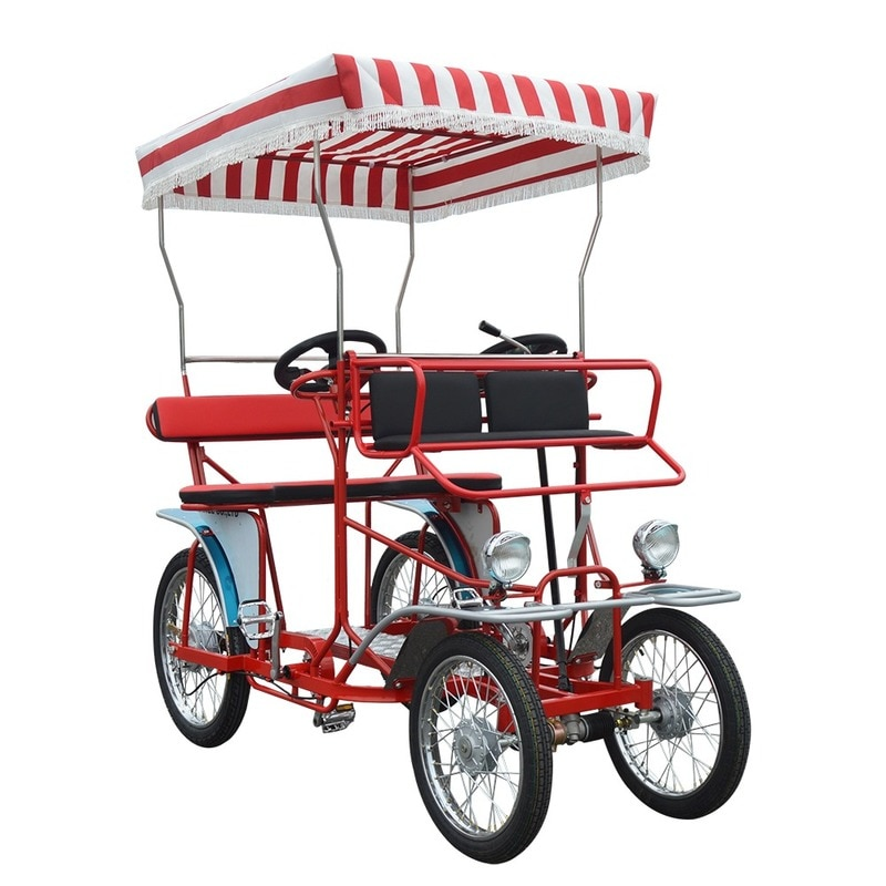 Park Seaside Cycling rental Fashion Family 4 Wheel Adult Pedal Car Couple Fun Surrey Bike Tandem Bicycle for sale