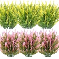 artificial lavender flowers 12 bundles outdoor uv resistant fake flowers no fade faux plastic plants garden porch