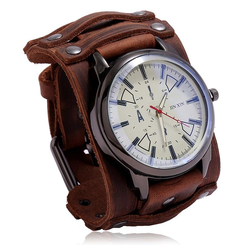 New Sport Mens Watches Male Clocks Punk Watch Leather Strap Quartz Fashion Men Watch Gift Lovers Wat