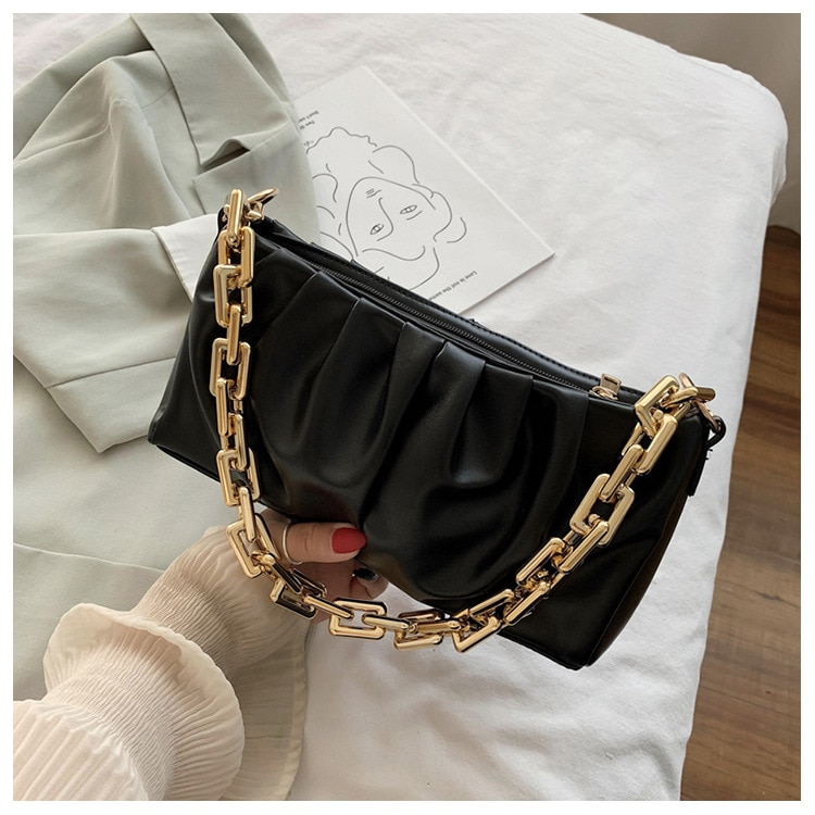 RAVIDINO, bolsos de hombro de cadena gruesa para mujer, bolso plisado con eslinga
