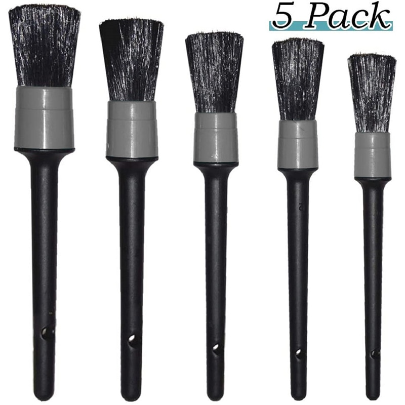 5Pcs Car Cleaning Brushes Cleaning Natural Boar Hair Brushes Auto Detail Tools Wheels Dashboard Auto Accessories Car Wash