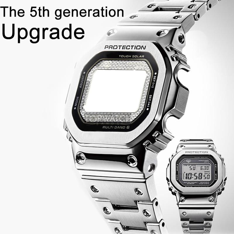 DW5600 معدنيا الفولاذ المقاوم للصدأ مربط الساعة GW-M5610 حزام DW 5600G-5600 حزام (استيك) ساعة إطار حالة حزام أدوات 4rd
