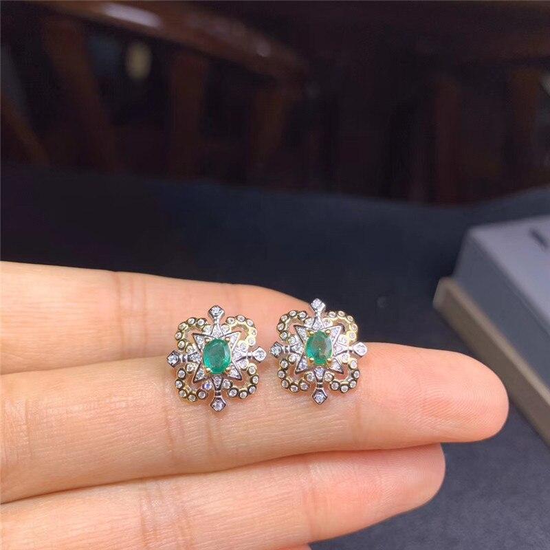925 pendientes de plata Esmeralda para uso diario 4mm * 5mm pendientes de plata Esmeralda Natural pendientes de plata de moda pendientes de plata