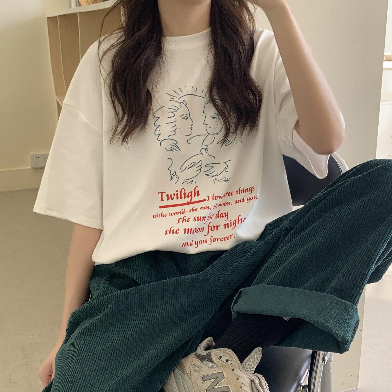 2020 primavera Casual Wear Hair Rendering impresión Camiseta de manga corta Mujer marea Harajuku verano Top Unif Stitch Streetwear