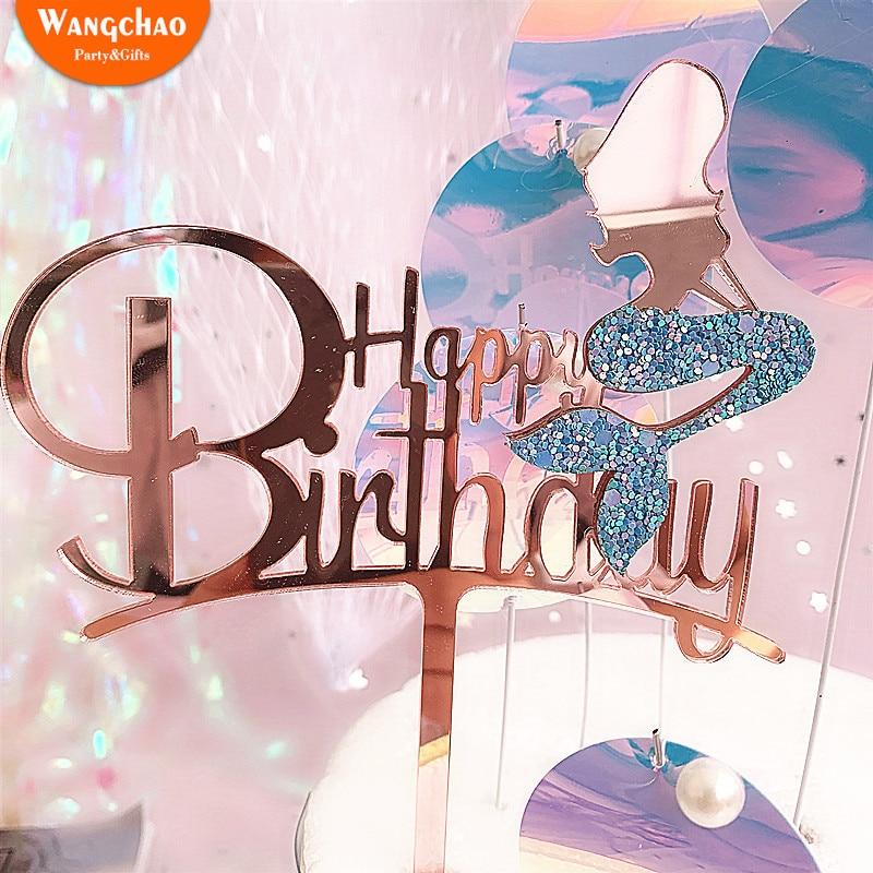 Accesorios de pastel de sirena acrílico brillante encantador decoración de sirena accesorios de pastel de cumpleaños hermosos suministros de fiesta de sirena
