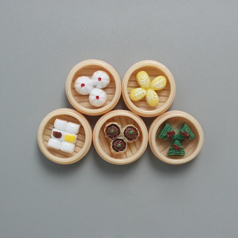 Mini imán chino redondo de 24mm para alimentos, Decoración de cocina, adhesivo magnético, pasta creativa, pequeño vaporizador de Bambú