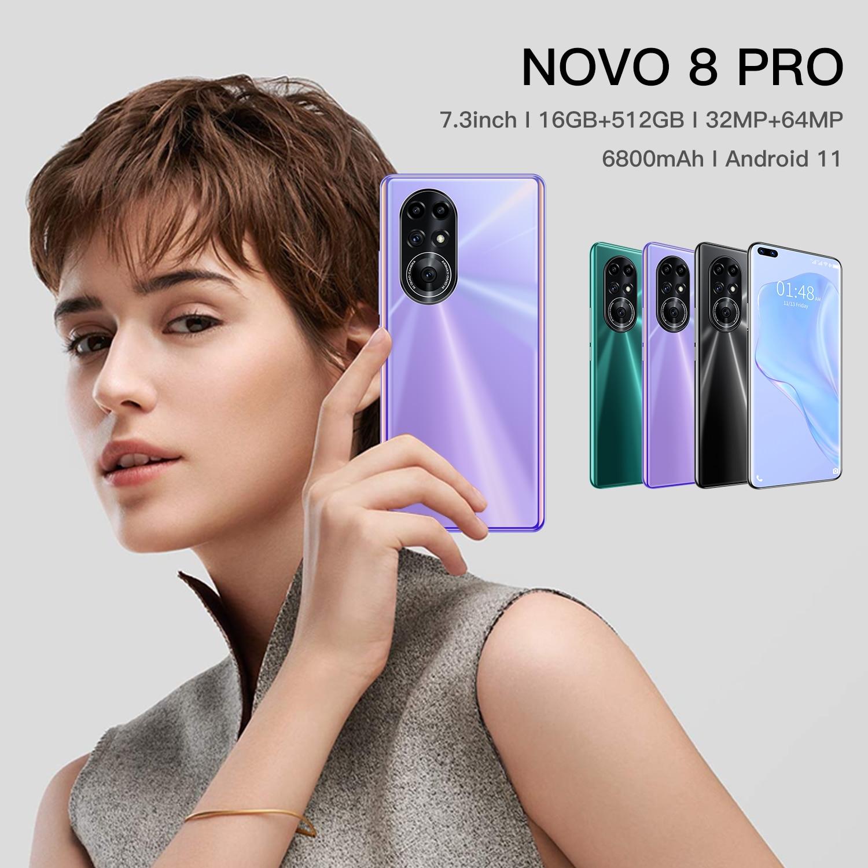 Hot Sell NOVO 8 Pro 5G Global Version 7.3 Inch Big Screen Phones 32+64MP 16GB+512G Android 11 Face ID 6800mAh Big Battery