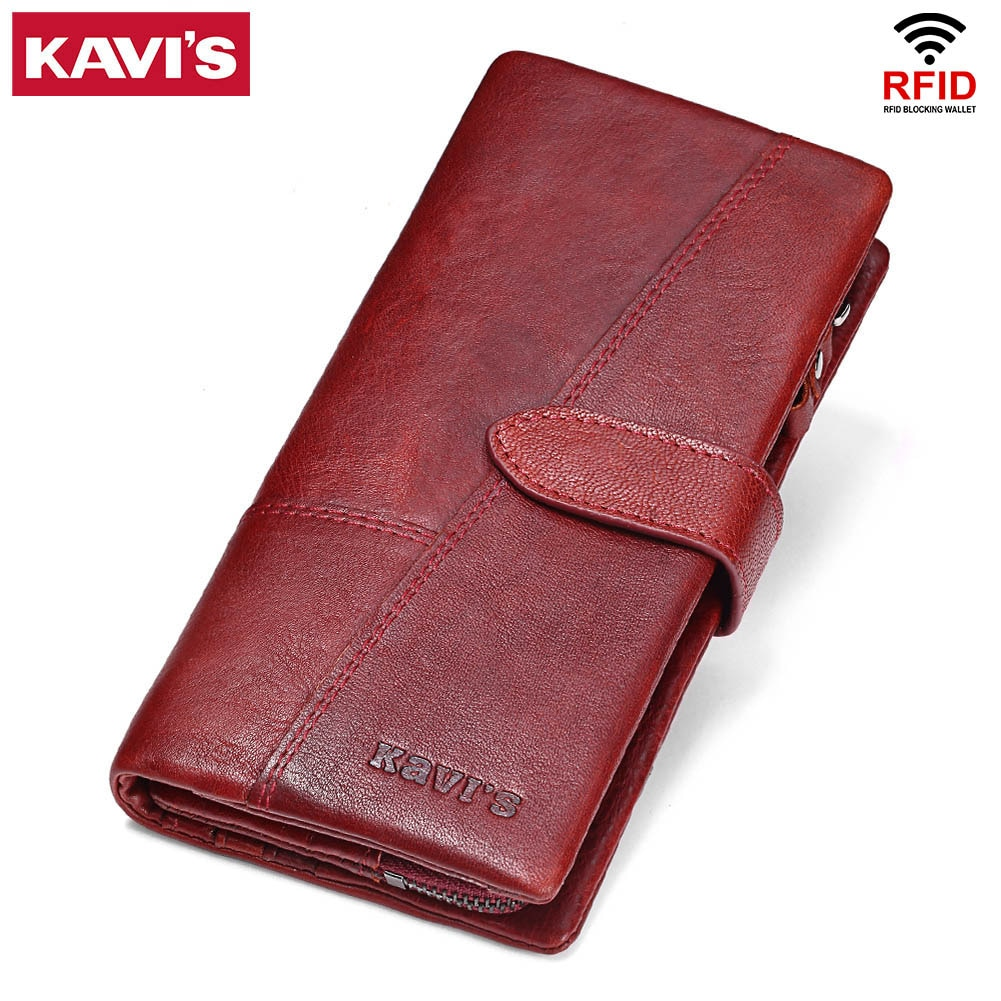 KAVIS-محفظة نسائية من الجلد الطبيعي مضادة Rfid ، محفظة طويلة ، محفظة بسحاب