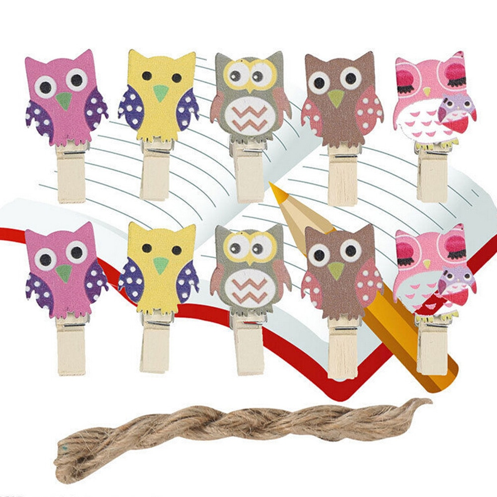 10pcs Owl shape Wooden Clip Photo Paper Postcard Craft DIY Clips with Hemp Rope Office Binding Supplies