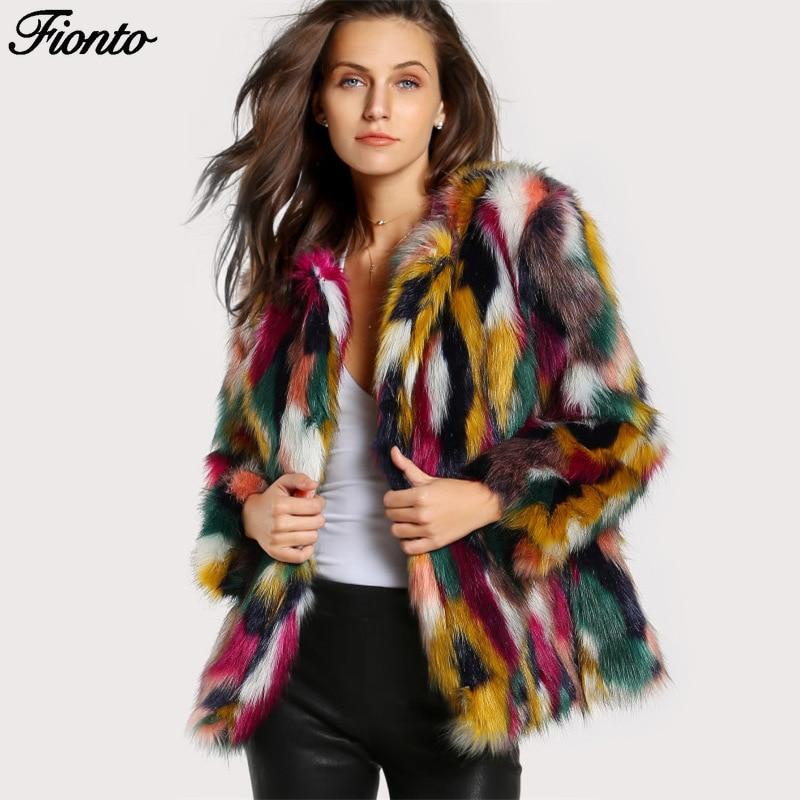 FIONTO, moda Otoño Invierno, abrigo de piel sintética colorido y peludo para mujer, ropa de abrigo cálida esponjosa, chaqueta de mujer, abrigo peludo sin cuello