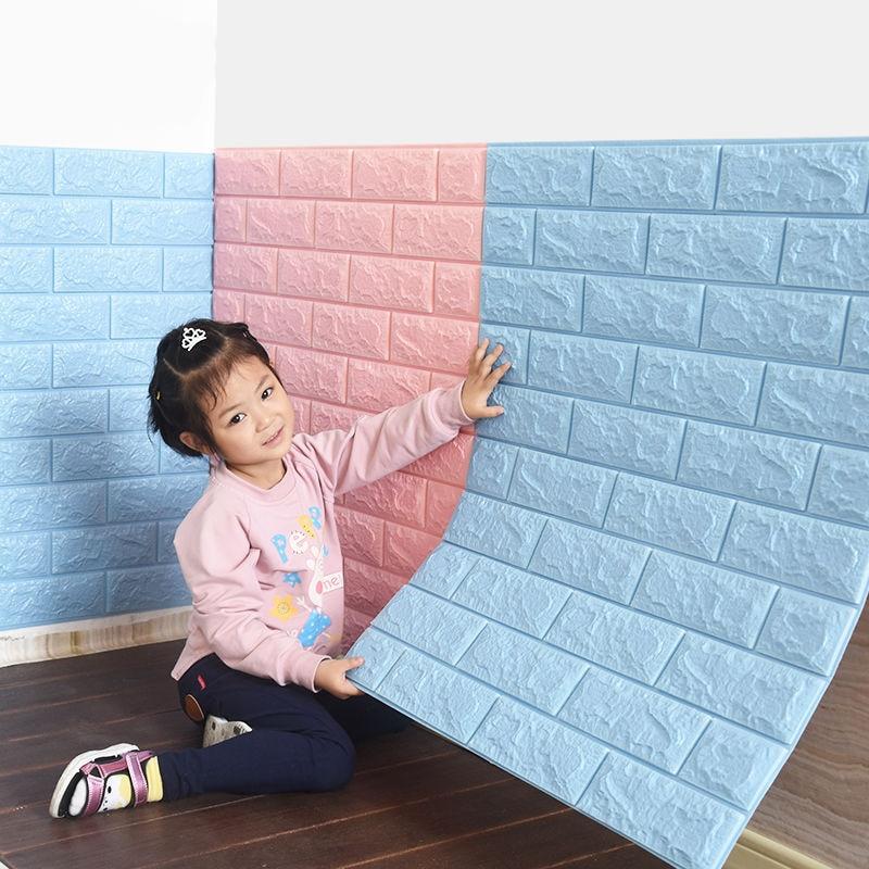 Papel pintado autoadhesivo 3d pegatina de pared patrón de ladrillo papel pintado decoración de pared de espuma de choque dormitorio pegatina de decoración caliente