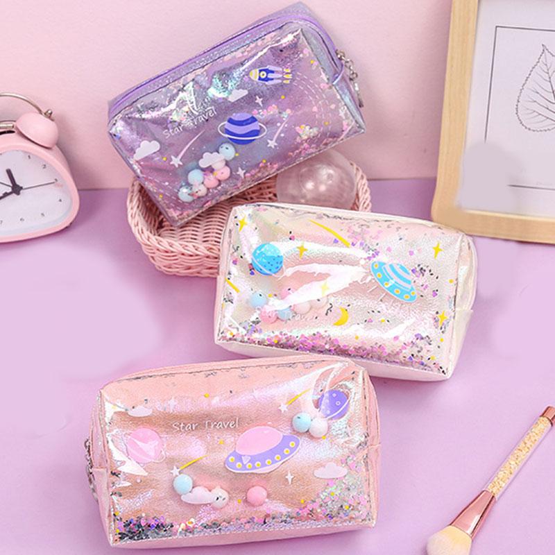 Simple fashion Laser makeup bag large size Quicksand storage bag  Casual Durable waterproof portable