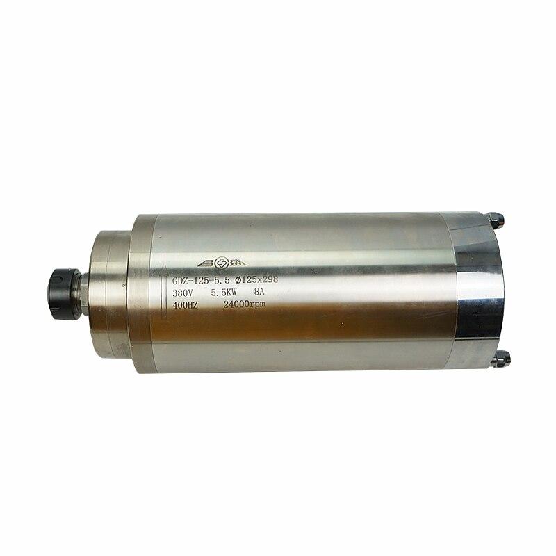 Changsheng 5.5kw 125mm er25 220 v 380 v 24000rpm refrigerado a água do eixo do motor para cnc gravura roteador de trabalho madeira escultura máquina