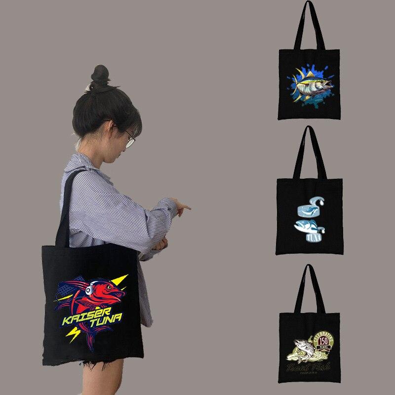 Многоразовые тканевые сумки для покупок, тканевые сумки с принтом тунца для покупок, женские сумки-тоуты 2021, настраиваемая сумка для покупо...