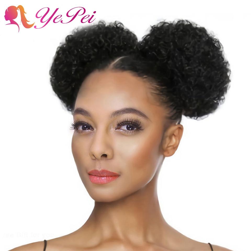 Extensions de cheveux Afro courtes 6 pouces   Queue de cheval, queue de cheval, cheveux humains bouclés avec Clip, Chignon, peut acheter 2 pièces