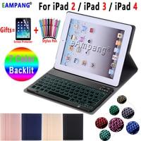 7 Color Backlit Bluetooth Keyboard Case for iPad 2 3 4 Keyboard Case for iPad2 iPad3 iPad4 Case Leather Cover Funda + Pen + Film