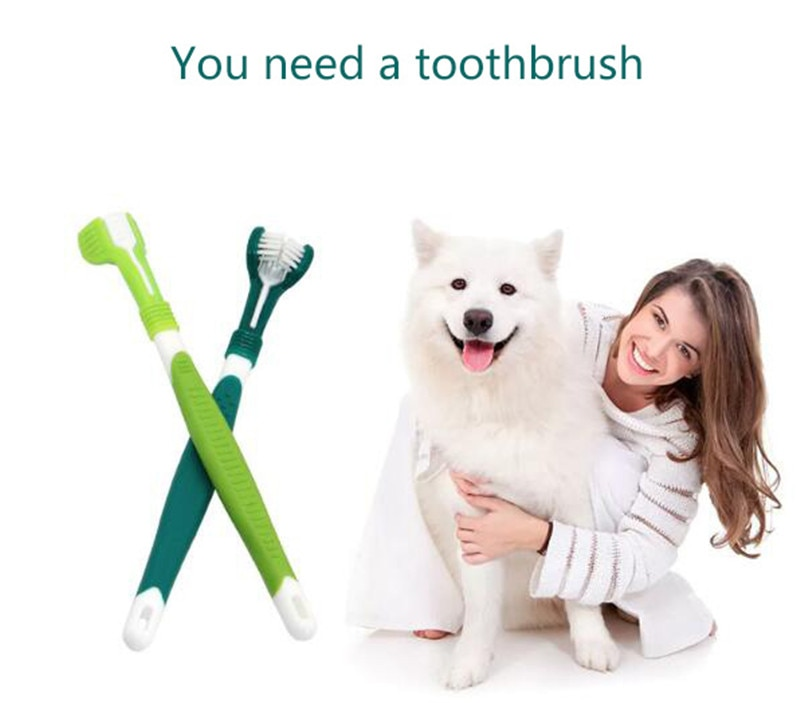 Pet Toothbrush Three-Head Toothbrush Multi-angle Cleaning Addition Bad Breath Tartar Teeth Care Dog