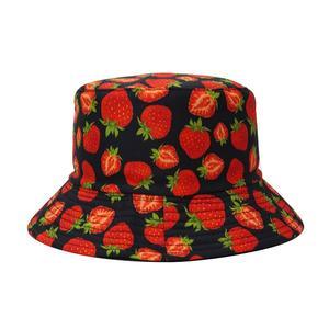 2021 Cotton four seasons Fruit Strawberry Print Bucket Hat Fisherman Hat Outdoor Travel Hat Sun Cap for Men and Women 407