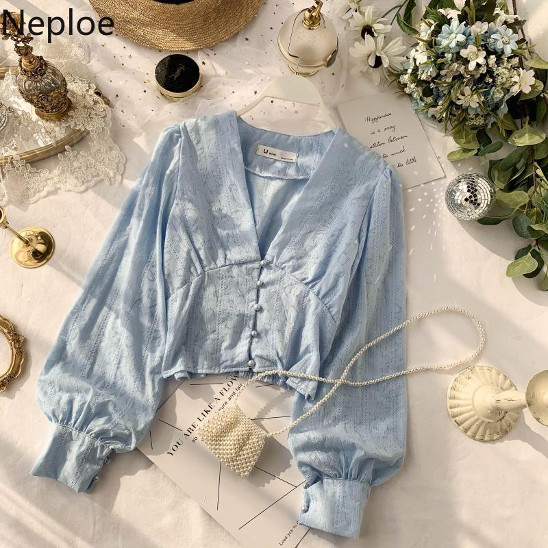 Neploe Chic V Necj Puff manga larga otoño primavera 2020 nueva blusa sólido diseño de botones Slim Fit Blusas otoño primavera camisa 47947