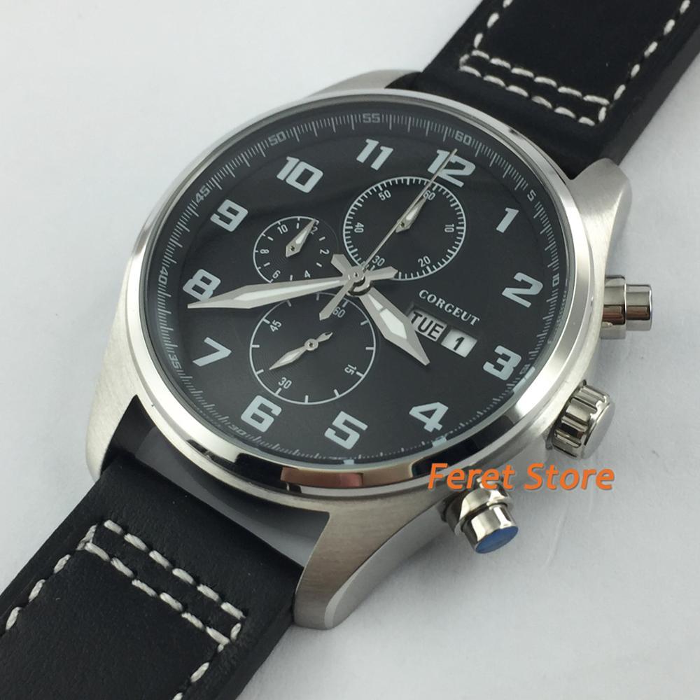 Masculino de Luxo Relógio de Pulso de Quartzo Corgeut Relógio Masculino Cronógrafo Relógios Mostrador Preto 41mm