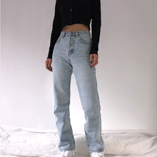 2020 High Waist Loose Comfortable Jeans For Women Plus Size Fashionable Casual Straight Pants Mom Je
