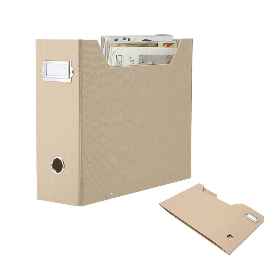 Foldaway Magazine Organizer A4 Suspension File Holder Office News Paper Storage Box Beige Natural Paper (1PC)