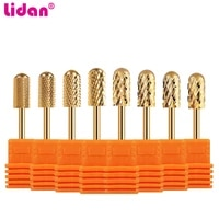 lidan 16 type gold color tungsten steel bits for electric drill nails mills cutter manicure machine nail files tool accessories
