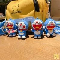 japan cute cartoon doraemon keychain creative anime cat doraemon children bag pendant key ring accessories couples charm gift