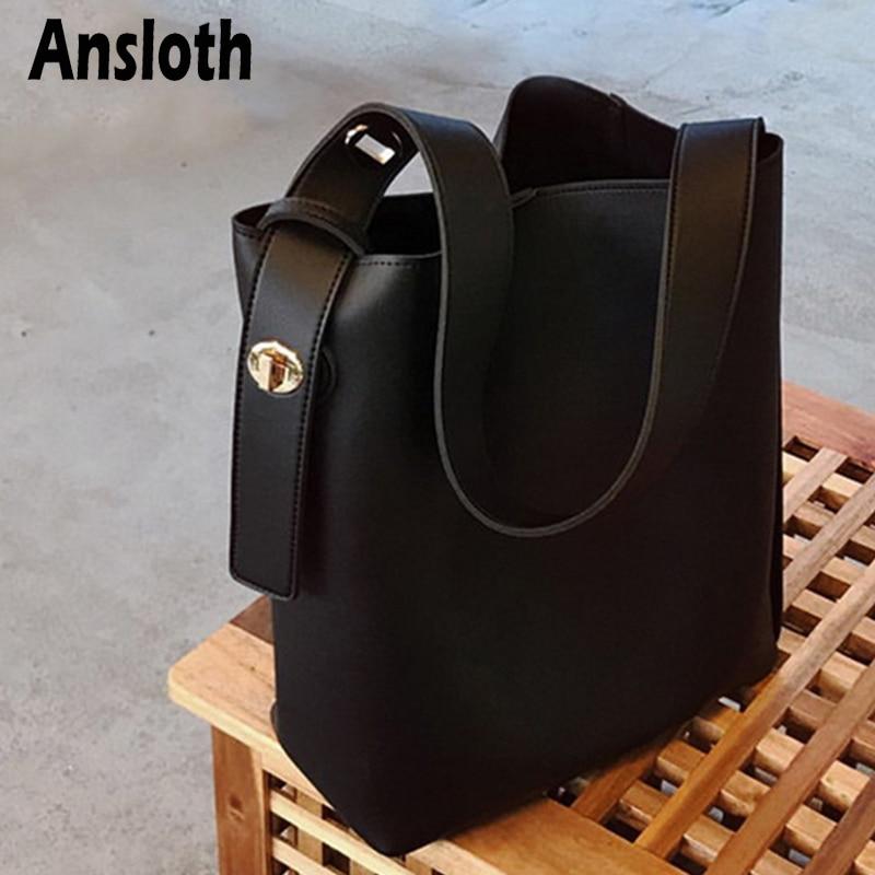 Ansloth PU Leather Shoulder Bags Luxury Fashion Bucket Bag High Capacity Women's Bag Solid Color Handbag Ladies Tote Bags HPS953