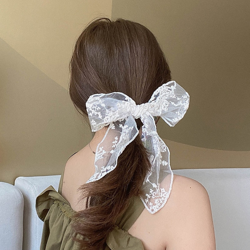 Xugar Lace Ribbon Bowknot Hair Ties Ponytail Elastic Hairbands for Women Girls Sweet Bow Clips Hairpin Accessories