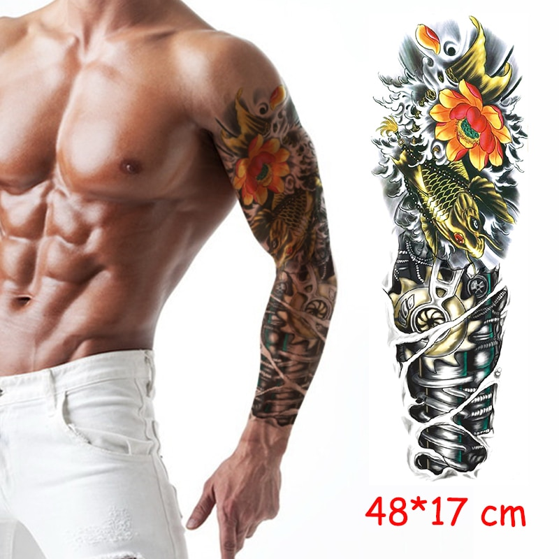 Водостойкая Временная тату-наклейка на всю руку робот Механическая Рыба цветок Мужская тату искусственная татуировка для мужчин и женщин