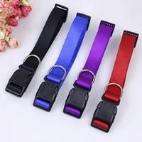 1pc dog collar nylon pet necklace creative pet supplies adjustable solid color pet accessories puppy leash