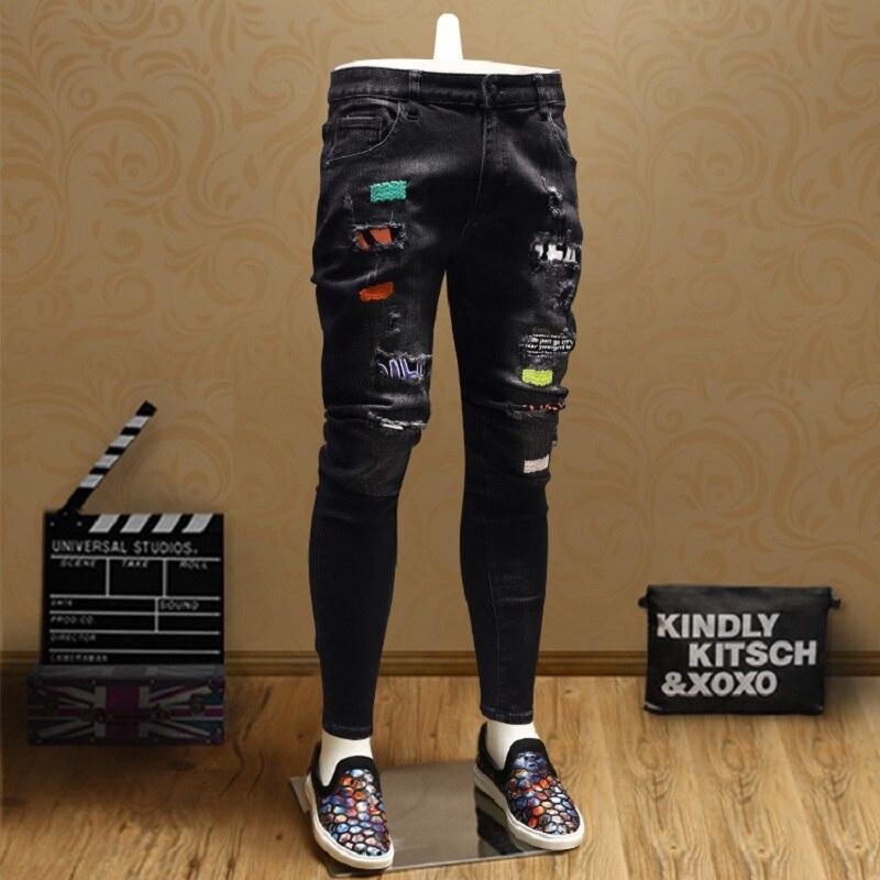 Fashion Patch Ripped Skinny Jeans Men Streetwear Black Straight Pants SMJ06
