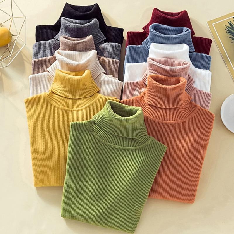 Black Turtleneck Knit Sweater Crop Top Women Long Sleeve Yellow Sweater  Winter Clothes Women 2020 Long Sleeves Routine Top