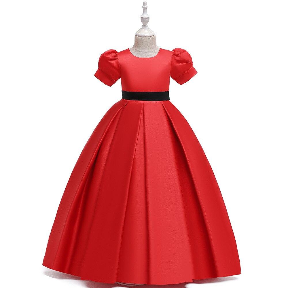 Cheap A Linha de Mangas Curtas Primeira Comunhão Vestidos Longo Cetim Vermelho de Noite Formal Vestidos De Aniversário para Crianças