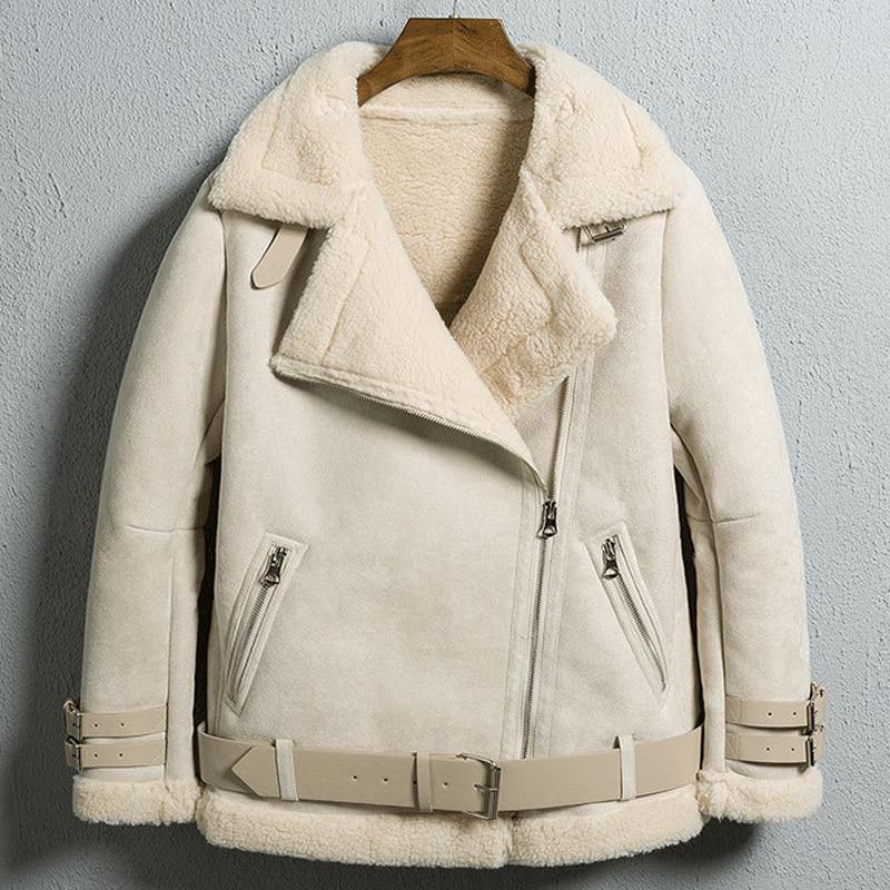 Fur Lined Bomber Jacket Women 2021 New Arrivals Lamb Fur Leather Coat Fashion Street Outwear Leather Jackets Female Winter Coat