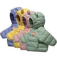 brand new baby girls hooded down jackets winter boys warm jacket coat toddler girl zipper jacket outerwear cute ear kids coats
