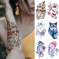 waterproof temporary tattoo sticker fox lion cat wolf dragon flash tattoos dream catcher rose body art arm fake tatoo women men