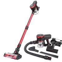 moosoo k17 23kpa cordless stick vacuum cleaner strong suction 200w brushless moter with telescopic tube for pet hair carpet cars